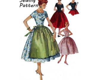 "Simplicity 1193 Woman's Two-Piece Dress Peplum Blouse, Full Skirt, Gathered Apron Sewing Pattern Size 12 Bust 30""/76cm Vintage 1950s UNCUT"