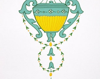 No. 563 Victorian / Edwardian Classical Vase & Flora  - limited edition screenprint