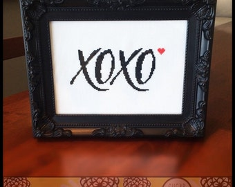 XOXO Cross Stitch Pattern  ( Printable PDF ) - Immediate Download from Etsy - SugarStitch