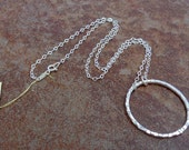 Large Hammered Fine Silver Circle Pendant on Sparkling Sterling Chain (No.1)