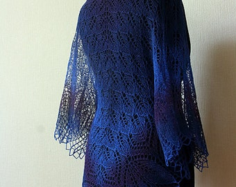 Handknitted lace shawl - blue-purple wool shawl