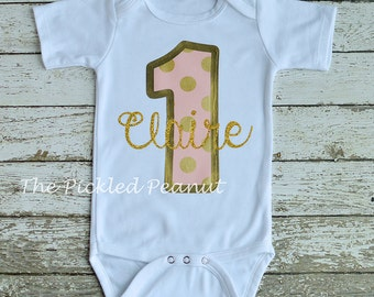 Pink Gold 1st Birthday Onesie 1st Birthday Shirt Birthday Outfit Pink Gold Birthday 1 Birthday Onesie Gold Glitter Sparkle Baby Girl Silver