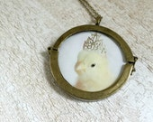 Chicken in A Tiny Silver Crown Necklace Chicks in Hats Pendant Glass Treasure Locket Baby Animals Birds in Hats 47mm