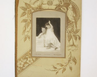 Art Print - 'Cupid and Psyche' Pose - Paper Ephemera - Very Old Photograph - Boy and Girl in Togas - Mounted Sepia Print