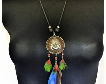 Beautiful Tribal feathered necklace