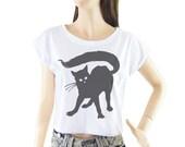 Black Cat shirt women shirt cropped tee crop tops