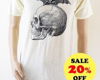 Skull Bat (size M) Skull Shirt Unisex Tshirt Men Tshirt Teen Shirt Trendy clothing Gift shirt Women Tshirt Yellow Tshirt Screen Print Size M