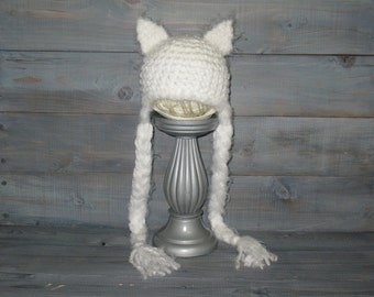 0 to 3 Month White Cat Crochet Hat with braids