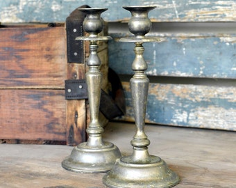 Shabby Rustic Candlestick Candle Holder Pair (Set of 2) - Silver Tone Metal, Heavy Patina & Wear - Antique Vintage Home Decor