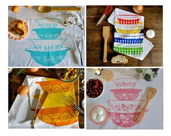 Tea Towel Subscription: 12 months, 12 Pyrex Tea Towel Designs, Flour Sack Tea Towel Printed With Water Based Innk