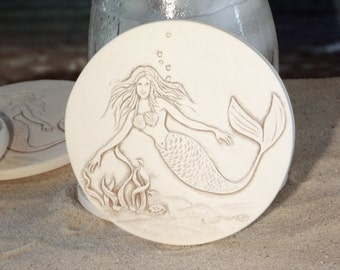 Drink Coasters, Mermaid Coasters, Coasters, Beach House, Hostess Gifts, Nautical Decor, Home Decor, Tableware, Barware