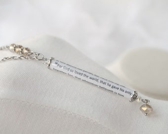 Scripture Necklace - John 3 16 - God so loved - Bible Verse Jewelry