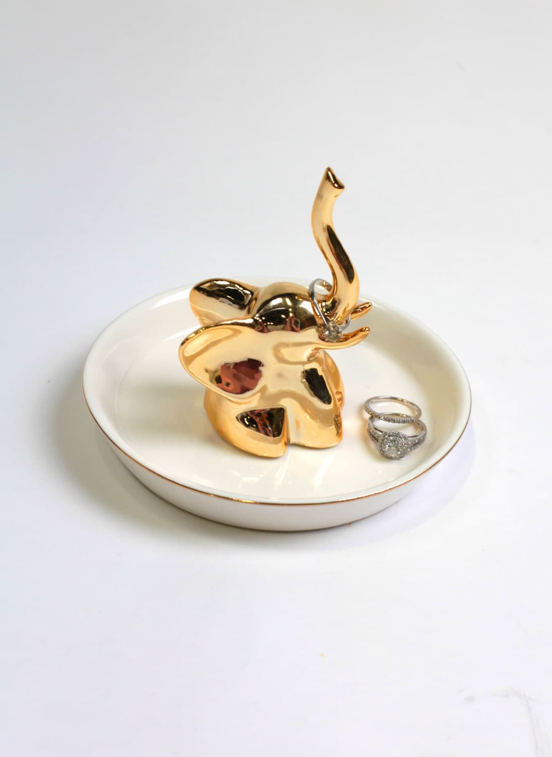 Gold Elephant Ring Dish White Faux Taxidermy Jewelry Holder
