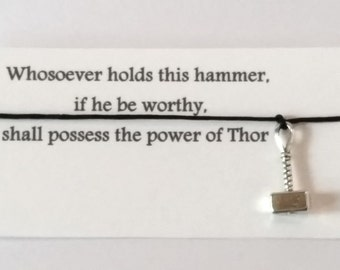 Thor Hammer friendship bracelet with waxed cotton cord and its own message card OR Silver Plated Key Ring OR Silver Plated Necklace