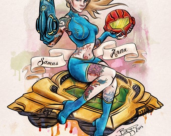 """Metroid Samus Aran Sexy Retro Pinup Inked Limited Edition Hand Signed and Numbered Giclèe Archival Print 16""""x20"""" Fine Art Print"""