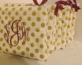 Monogrammed gold and cream Fabric cosmetic  bags,Bridesmaids, Graduation gifts, Valentines Day coming up .