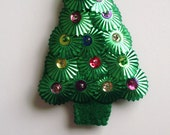 "antique hand stitched green sequined Christmas tree pin, 1950's, 3-1/4"" long x 2"" wide"