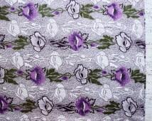 Vintage cotton fabric brown white green purple lilac 30x34'