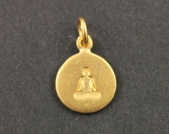 24K Gold Vermeil Over Sterling Silver Meditation Charm in a Disc /Yoga Pendant / Charm, Sold as 1 Piece , (VM/CH2/CR62)