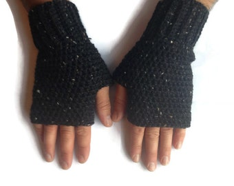 Mens fingerless gloves, crochet gloves, fingerless mittens, gifts for men, fingerless gloves for men, winter gloves for men.