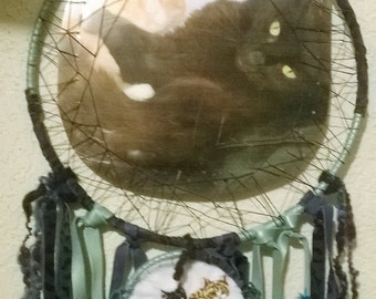 Cats Large Double Dream Catchers, embroidered cats dangling from Large Photo of Cats Dreamcatcher with Catnip mouse and charm
