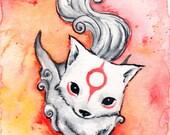 SALE! Chibiterasu 2: Fine Art Giclee Watercolour Print, Okami