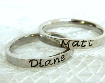 Stackable Rings, Name Rings, Stacking Rings, Personalized Stacking Ring, Silver Ring, Initial Ring, Thin Stackable Name Ring, Flat Ring