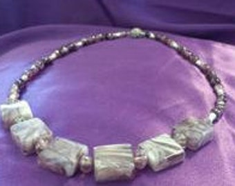 Beautiful Shades of Purple Lampwoks Beaded Necklace with Silver Spacers and a Rhinestone Magnetic Clasp