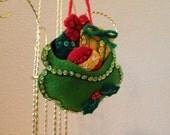 Hand Stitched Felt 3D Present Sack Ornament