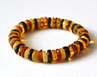 Natural Amber Bracelet Baltic Amber Colorful Amber Bracelet Gold Amber