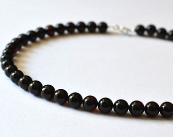 Genuine Baltic Amber Necklace Cherry Ball Round Beads 8,8 mm Ruby Baltic Amber Necklace