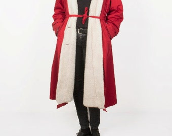 Vintage Red White Winter Coat / Midi Long Coat / Wrap Warm Coat 70s Retro Yugoslavia / Women's Size Small to Medium US 10 - 14