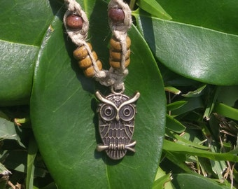 Owl Hemp Necklace Wooden Beads