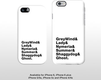iPhone 6s iPhone 6 plus Game of thrones plastic phone case. Minimal typography GOT Direwolf names phone cover iPhone 5 5c 4 FP234WHT
