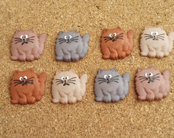 Fat Cats Push Pins