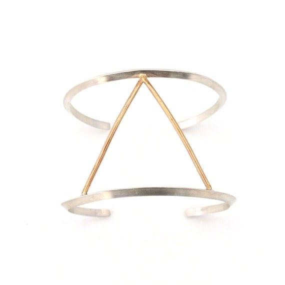 Silver + Gold Triangle Bracelet - Geometric Cuff