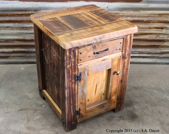 Rustic Barnwood Night Stand - Reclaimed Wood Bedside Tables - 1 drawer 1 door night stand