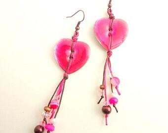 Button Earrings, Hot Pink earrings, Fuchsia earrings, heart earrings, valentine's gift, hippie earrings, button jewelry, teen jewelry