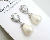 Crystal Post Pearl Drop Bridal Earrings