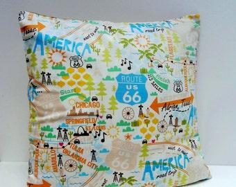 Route 66 Road Trip Pillow / Cushion cover