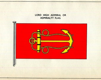 United Kingdom Admiralty Flag Print Lord High Admiralty British Royal Navy Nautical Vintage 1930's