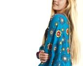 Blue Shrug, Embroidered Shrug, Blue Jacket, Bolero, Indian Hippie Tribal Gypsy Jacket, Vintage Sari Jacket, Boho Chic
