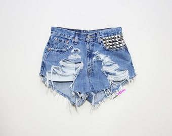 ALL SIZES Destroyed High Waisted Studded Vintage Levi Cut Off Shorts