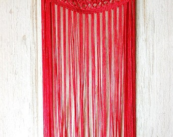 Red fringe necklace with chain. Last piece! Statement necklace. Bib necklace. Bohemian necklace. Flamenco necklace. Bridesmaid necklace.