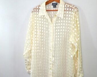 Vintage Sheer Shirt Sheer Blouse Secretary Shirt Cream and Gold Blouse Checkered Shirt Checkered Blouse Long Blouse 1X Plus Size