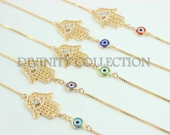 Hamsa Bracelet Gold Filled High Quality Evil Eye Bracelets Crystal Hand of Fatima Charm Kabbalah Jewelry Womens Bracelets Protection Gift