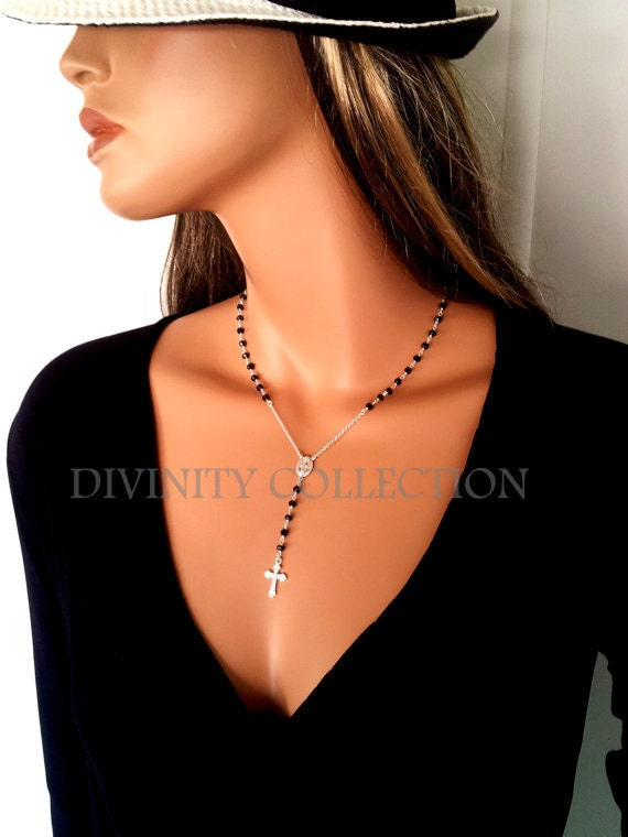 Black Spinel Rosary Necklaces Sterling Silver Womens Cross