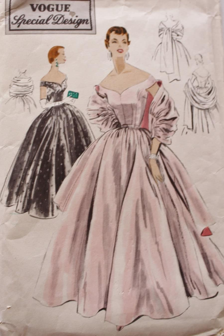 1950s Vogue S-4465/ Evening Gown Sewing Pattern /Off The