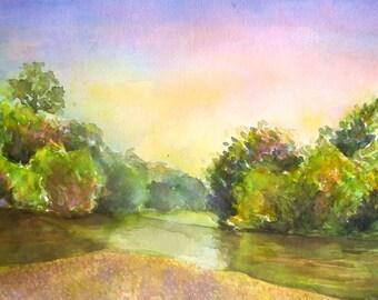 Original watercolor painting, watercolor landscape, aquarelle painting, landscape painting, watercolor art, original artwork. countryside