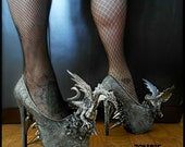 Metallic Dragon Spike Heels